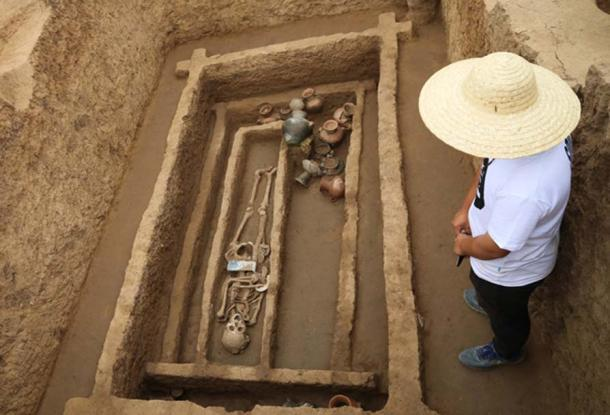 "A grave at the archaeological site in Jinan, Shandong province, where the skeletons of ""unusually tall and strong"" people have been found."