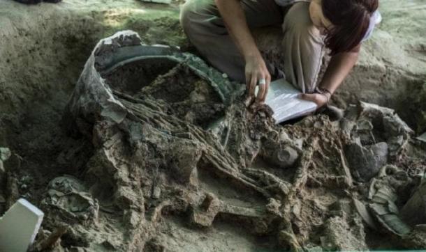 The grave goods in situ being catalogued. (Pierluigi Giorgi / © Antiquity Publications Ltd)