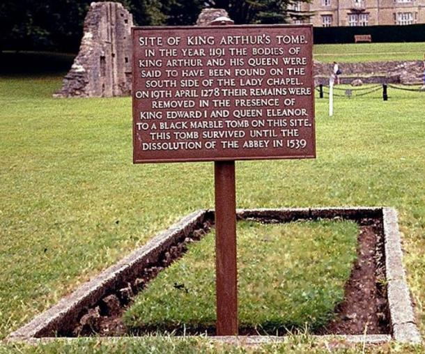 Site of what was supposed to be the grave of King Arthur and Queen Guinevere on the grounds of former Glastonbury Abbey, Somerset, UK.