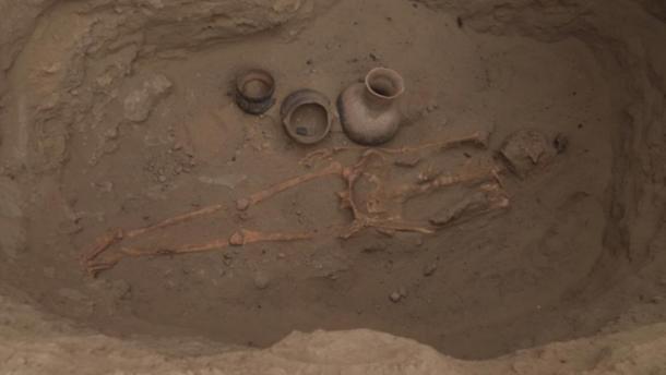 A Moche grave discovered at Pucala, Peru. (Ministerio de Cultura)