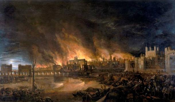 The great fire of London as seen from a boat in vicinity of Tower Wharf