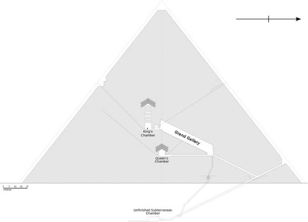 Layout of Egypt's Great Pyramid, showing all the main interior rooms, passageways and subterranean chamber. (Jeff Dahl / CC BY-SA)