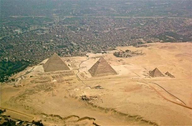 The Giza-pyramids and Giza Necropolis, Egypt, seen from above.