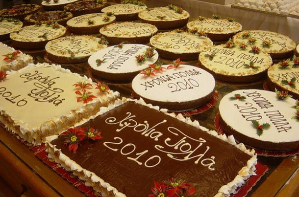 Example of vasilopita New Year's cakes from 2010.