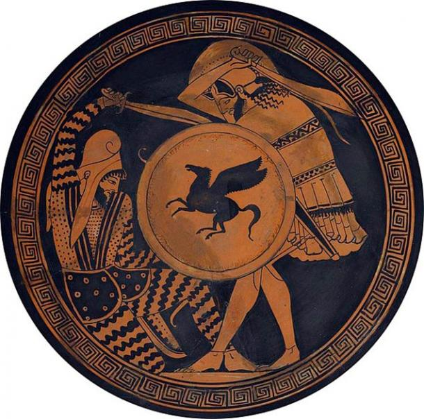 Greek hoplite and Persian warrior fighting each other. Depiction in ancient kylix. 5th c. BC. National Archaeological Museum of Athens. (Public Domain)