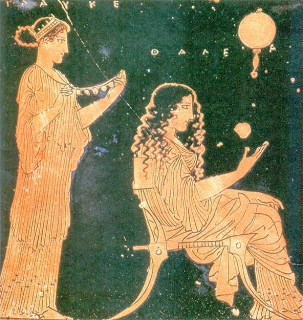 Two Greek women of Archaic Athens making preparations for a wedding, displayed on ceramic painting from the 5th century BC. (Public domain)