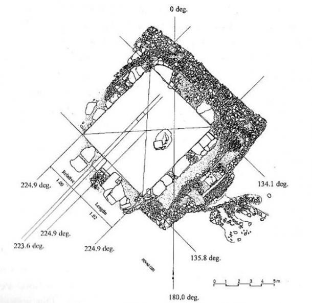 The ground plan of Nevalı Çori showing its rectilinear design and northwest-southeast orientation from the present author's book Gods of Eden, published in 1998. (Credit Harald Hauptmann/Rodney Hale)