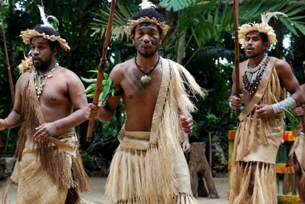 A group of Melanesian men from Vanuatu