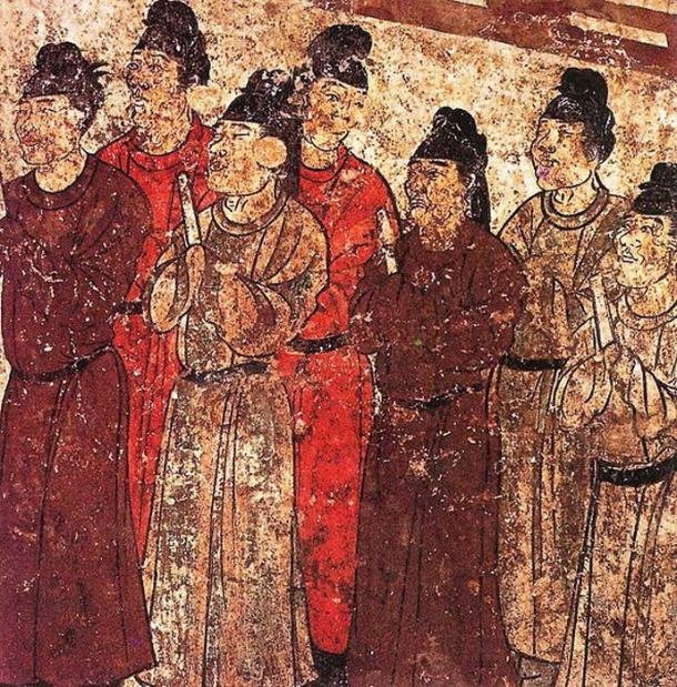 A group of eunuchs. Mural from the tomb of the prince Zhanghuai, 706, Qianling, Shaanxi.