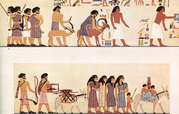 A group of people labelled the Asiatics entering Egypt c.1900 BC. From the tomb of 12th-dynasty official Khnumhotep II, at Beni Hasan. (NebMaatRa / CC BY-SA 3.0)