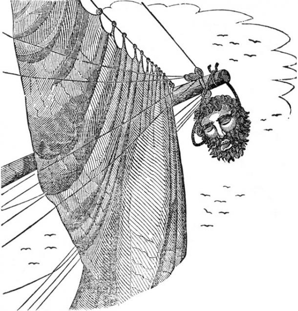Edward Teach's severed head hangs from Maynard's bowsprit, as pictured in Charles Elles's 'The Pirates Own Book.' (1837)