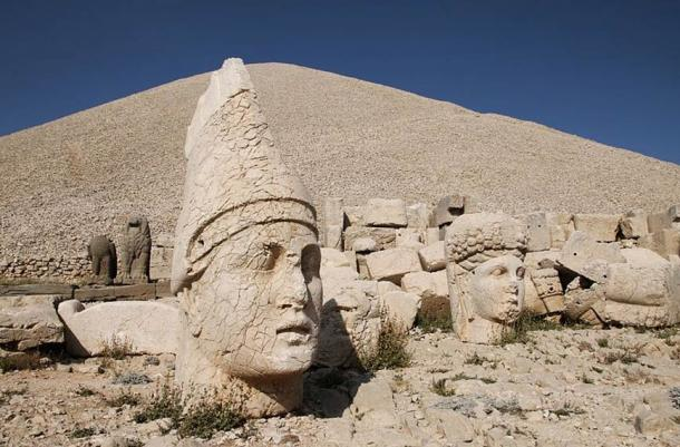 On the left, the head of Apollo/Mithra/Helios/Hermes, Mount Nemrut - West Terrace.