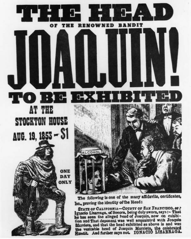 A poster advertising the display of the supposed head of Murrieta in Stockton, CA. 1853