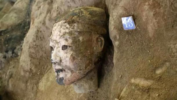 The head of one of the newly discovered soldiers. Credit: Emperor Qin Shi Emperor's Mausoleum