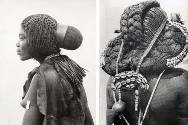 Different styles of headdress worn by the Mbalantu women. Photo: CHL Hahn, Collection Antje Otto
