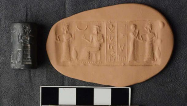 A hematite cylinder seal, Sumerian, 2112-2004 BC.