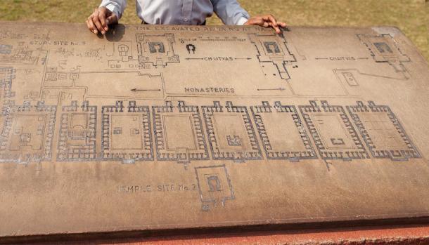 Archaeological heritage of India, plan of the ruins of university of Nalanda. (Dymov / Adobe Stock)