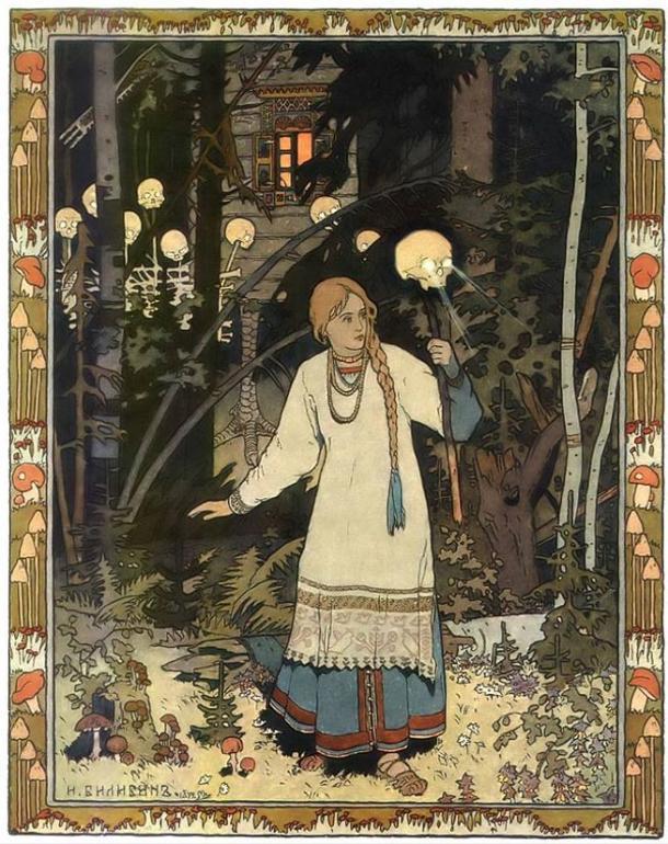 The heroine Vasilisa outside of the hut of Baba Yaga as depicted by Ivan Bilibin (1902).
