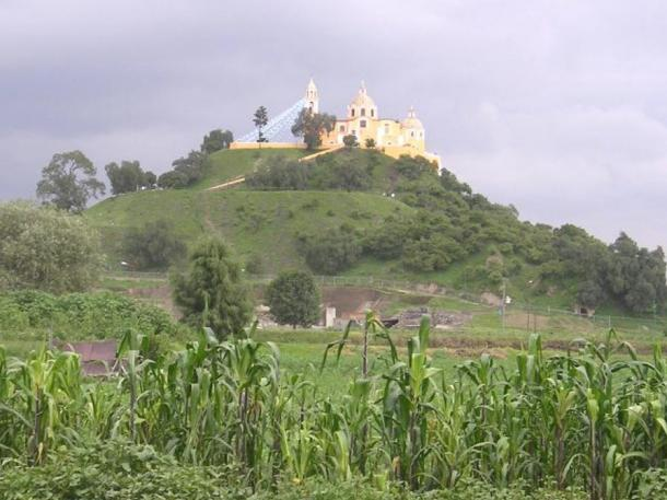 From a distance the Great Pyramid of Cholula looks like a natural hill topped by a church.