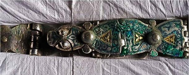 A hinged silver strap ( Robert Clark, National Geographic / Historic Environment Scotland ).
