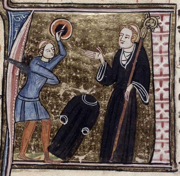 Detail of an historiated initial 'A'(postate) of a tonsured ex-cleric, armed with a sword and a shield and his black habit on the ground, facing an abbot. (Public Domain)