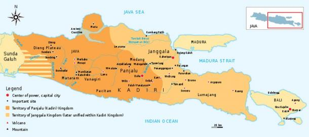 The historical map of Kediri (Kadiri) kingdom 11th to 13th century Eastern Java.