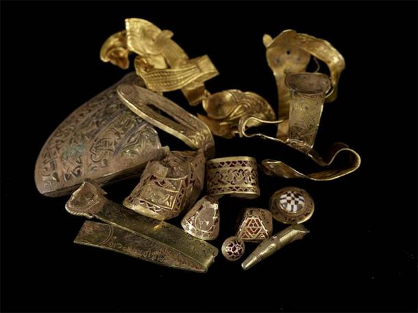 Staffordshire hoard was the large hoard of Anglo-Saxon gold discovered in 2009 near Lichfield in England.  (CC BY 2.0)