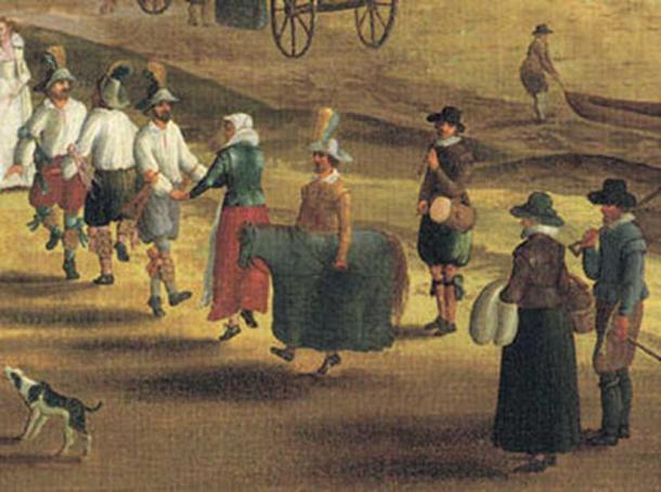 Morris dancers and a hobby horse