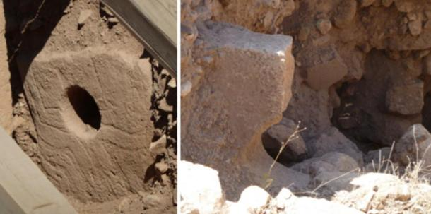 Figs. 5 & 6. Left, the holed stone in Enclosure D and, right, the broken example in Enclosure C.