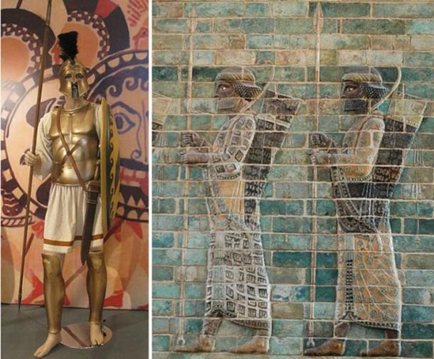 An Athenian hoplite and Persian warriors