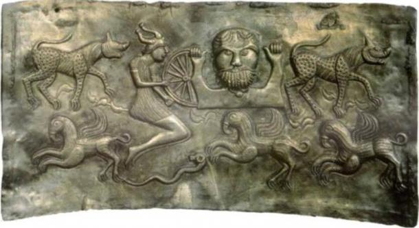 Depiction of a horned helmet from Plate C of the Gundestrup cauldron (c. 150-1 BC).
