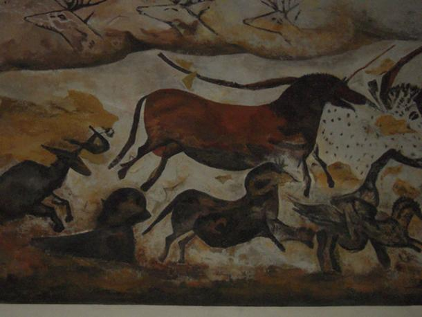 Replica of a horse painting from a cave in Lascaux