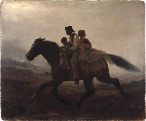 The US Underground Railroad was a network of secret routes and safe houses used by 19th-century slaves to escape to free states and Canada. Painting by Eastman Johnson, 1862.