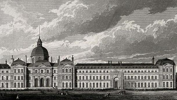 Hôpital de la Salpêtrière, Paris: panoramic view. Engraving by B. Winkles after B. Ferrey after A. Pugin.