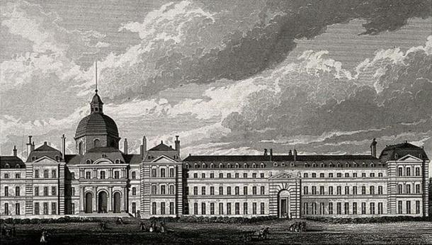 Hôpital de la Salpêtrière, Paris: panoramic view. Engraving by B. Winkles after B. Ferrey after A. Pugin.