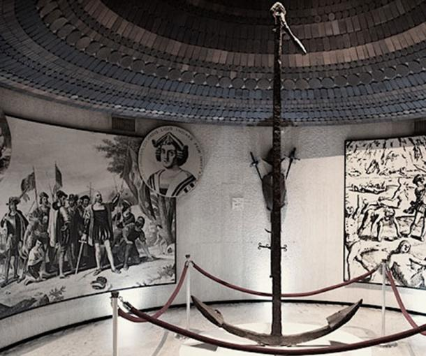 The Santa Maria's huge anchor: inside the Musée du Panthéon National Haïtien in Port-au-Prince, Haiti. The anchor was located onshore when the Europeans returned on November 22, 1493.