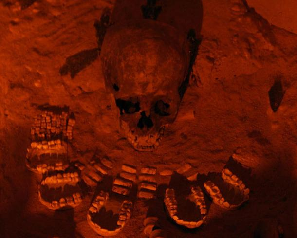 Human sacrifice remains found under the Pyramid of the Feathered Serpent, Teotihuacan.