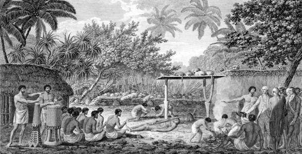 Captain James Cook witnessed human sacrifice in Taihiti during his visit around 1773.