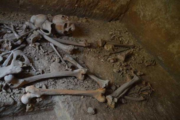 Another shot of the humans bones and skulls found in the catacombs, which are near St. Paul's and St. Agatha's catacombs underneath a Maltese school.