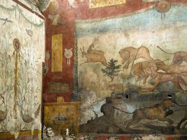 Vibrant hunting scene on the restored fresco. (Pompeii Sites)