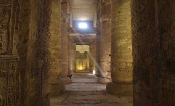 A view down the axis of the hypostyle hall of the temple of Seti I at Abydos, Egypt.