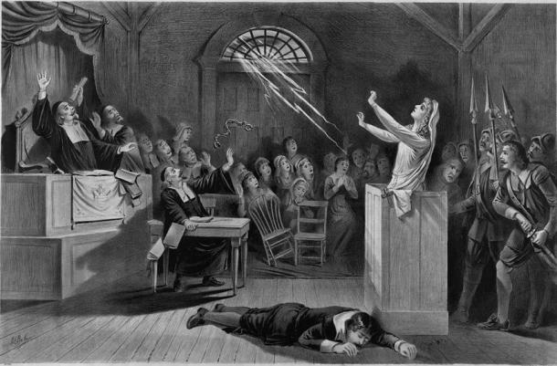 Lithograph from 1892 showing hysteria at the Salem witch trials