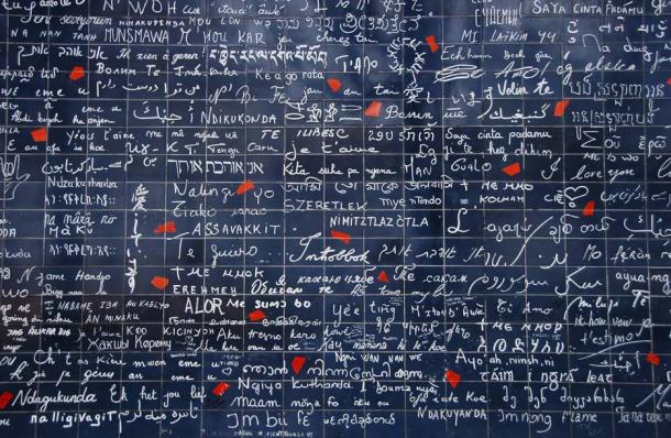 Le mur des je t'aime (The I Love You Wall) in Paris features the phrase 'I love you' 311 times in 250 languages. (ConstantineD/CC BY NC ND 2.0)