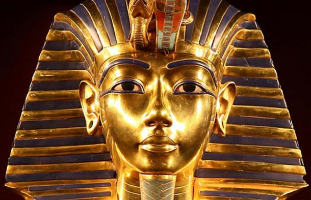 Detail of the iconic Golden Mask of Pharaoh Tutankhamun.