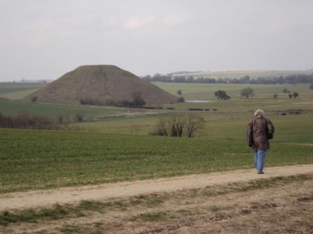 The iconic Silbury Hill, as seen from the West Kennet Long Barrow.