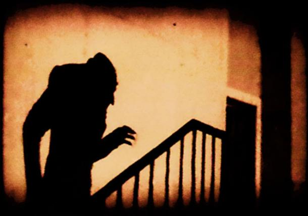 An iconic scene from F. W. Murnau's Nosferatu, 1922.
