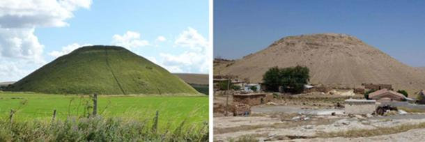 Figure 1.  The identical man-made hills of Silbury and Sogmatar. (Photo credit: Ralph Ellis)
