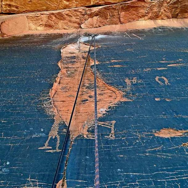 The illegal climbing route passed directly over the petroglyphs near the Sunshine Slabs in Utah. (Darrin Reay / Facebook)