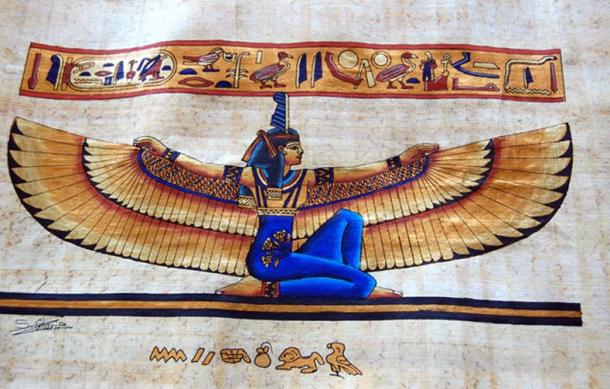 An illustrated papyrus roll, that depicts the Goddess Ma'at