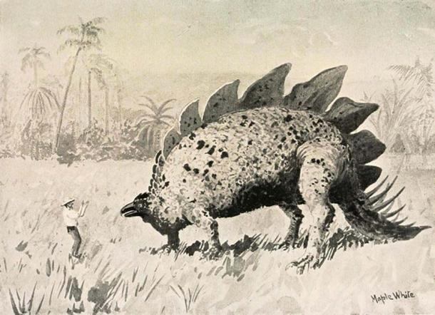An illustration from Doyle's 'Lost World' in which explorers encounter dinosaurs atop Mount Roraima.